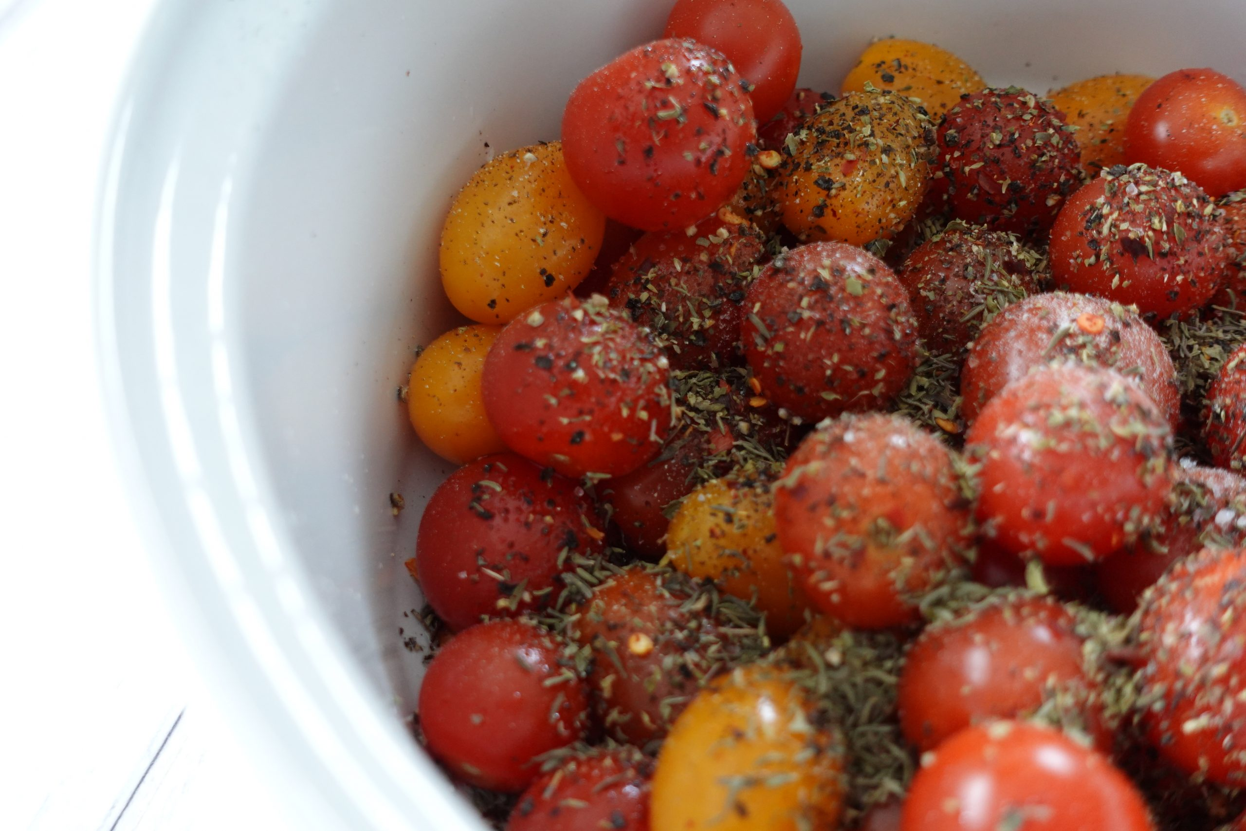 seaoned tomatoes for baked feta